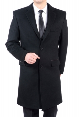 manteau homme 3 4 noir poches prestiges. Black Bedroom Furniture Sets. Home Design Ideas